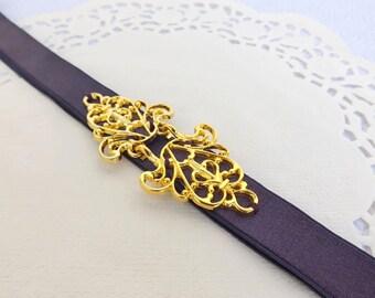 Dark purple Elastic Waist Belt. Gold Filigree buckle. Purple Bridal/ Bridesmaid Wedding Belt.