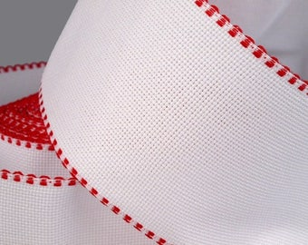 Aida 100 mm canvas band white border red for cross stitch Embroidery