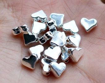 set of 100, 7mm heart beads, silver beads, metal beads, gold heart, 7mm ×7mm, bulk beads, small silver hearts, silver beads,