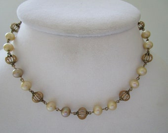 Vintage Pearl Necklace with Gold tone Beads