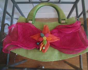 """Flower Purse - Wooden handles - Woven Purse - 16"""" Long at Bottom - Beach Purse - Fanciful Purse - Small Handbag - Pink - Green - Beads"""