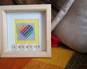 Rainbow Cross Stitch Heart