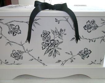 Wedding Keepsake Box keepsake chest Floral Toile memory box Anniversary Box hand painted personalized wedding gift