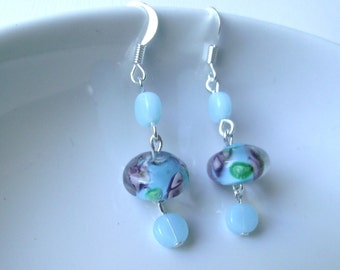 Spring Floral Earrings in baby blue