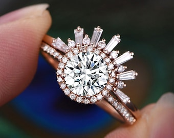 7mm Round cut Moissanite engagement Ring Set,Crown Diamond Wedding Band,Solid 14K Rose Gold,Promise anniversary bridal Ring set gift for her