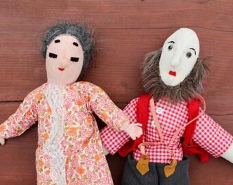 Vintage dolls Vintage doll Handmade cloth doll set of 2 Soviet vintage doll Prank gift Funny gift Whimsical gift Grandmom Grandpa