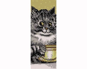 Coffee Cat Loom Bead Pattern, Bracelet Cuff, Bookmark, Seed Beading Pattern Miyuki Delica Size 11 Beads - PDF Instant Download