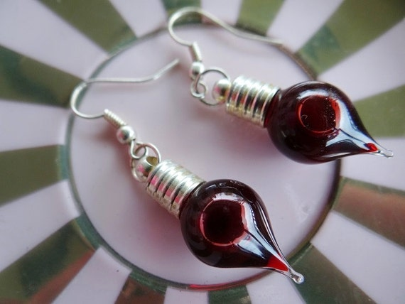 Blood Vial Earrings Vampire Bloody Horror Gore Halloween Goth Gothic Wicca Pagan Fantasy Wicca