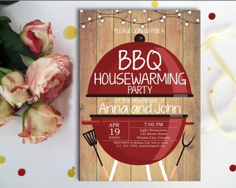 BBQ Housewarming Invitation. Rustic Wood, New house invite, Backyard Barbecue Housewarming Party, Chalkboard, Printable Digital,