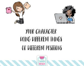 Your character doing different things or positions, Clipart and Vector, Discount codes not applicable