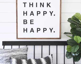 """THINK Happy BE Happy Painted wood sign 24X24"""" 