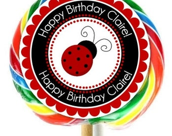 Lady Bug Birthday Labels, Ladybug Lollipop Stickers, Birthday Stickers, Extra Large Personalized Stickers, Fit on WHIRLY LOLLIPOPS