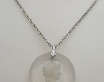 Vintage Clear Glass Intaglio Cameo Pendant Necklace with Chain