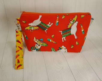 Chihuahua Cinco de Mayo Orange Chiwawa, Knitting Project Bag, Small Zippered Wedge Bag, Zipper Knitting Bag, Cosmetic Bag WS0081