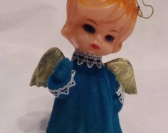 Flocked Christmas Angel Ornament -  Vintage 1960s
