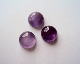 Natural Amethyst Cabochon 10 mm Round Cabochon Purple Gemstone Cabochon Amethyst Flat Back Supplies 3 pcs