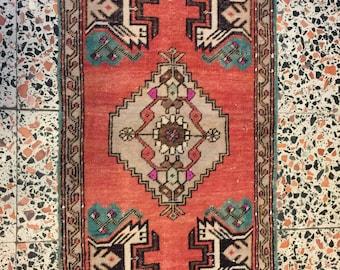 XMAS Colored Mat Rug,Vintage Small Rug,Diamond Motif Rug, Antique OUSHAK Rug,Decorative Hand Woven Turkish Rug,1'9''x3'6''Feet