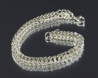 Box Sterling Silver Chainmaille Bracelet SRA