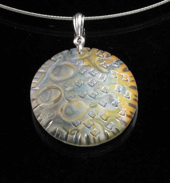 Gold & Silver Pendant Necklace, Mokume Gane Polymer Clay Jewelry, Unique Jewelry Gift for Her, Unique Handmade Jewelry, Girlfriend Gift