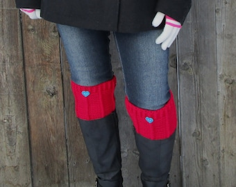 Women's Boot Cuffs, Leg Warmers, Crochet Boot Toppers, Boot Socks, Heart Boot Cuffs, Crochet Boot Cuffs For Women, Red Boot Cuffs
