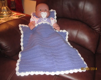 Lavender and White Baby Doll Blanket and Pillow Set