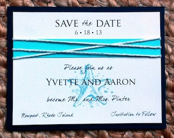 Beach Save The Date - Sand & Sea Sample in Navy and Aqua