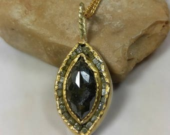 Diamond Necklace, Large Rosecut diamond and diamond cube pendant, 22 kt gold and raw diamond  necklace