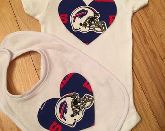 Buffalo Bills Heart Onesie and Bib Set