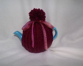 Crochet pom pom tea cosy for 2 cup teapot,burgundy red