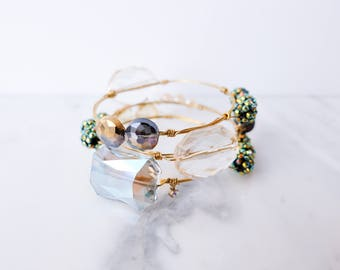 DEAL! Set of 3 Bangles - Wire Wrapped Stone Bangles Set of 3, Wire Wrapped Bracelet, Stone Bangle, Stone Bracelet, Stackable Bangles