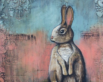 Rabbit Art, titled The Cottontail, Limited Edition, nature art, cabin art, lake house art, hunting art, Mixed Media Art