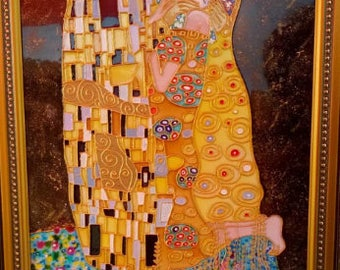 Bright decor wall Stained glass painting Gustav Klimt Stained glass panel custom Painting copy Gustav Klimt Custom stained glass picture