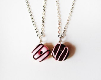 Best Friends Donut Necklace Set - Pink Brown Strawberry and Chocolate Swirl