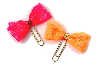 Lace bow planner clip in pink or orange, paperclip, paper clip, planner supply, gold paper clip, planner accessories, neon, page marker