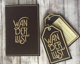 Passport Cover Luggage Tag Set- Wanderlust travel gift - Faux leather Holder - Passport Case Accessory - Graduation Wedding Adventurer