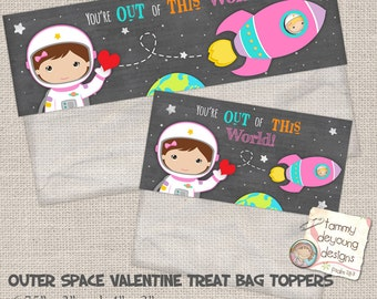 Valentines for Kids, Outer Space Valentine Treat Bag Toppers, Girl Valentine Party Favor, Astronaut valentine cards, Printable Valentine tag