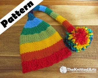 Rainbow Long Knit Cap Pattern, Rainbow Knit Hat, Newborn-3Mos Rainbow Hat Pattern