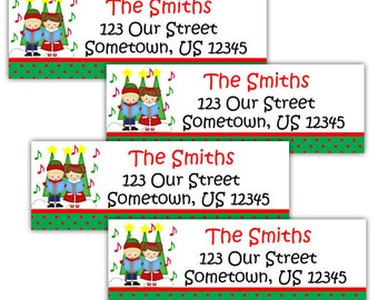 Christmas Carolers - Personalized Address labels, Stickers