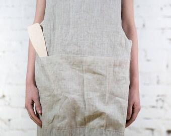 Japanese apron, long pinafore apron, linen pinafore apron, cross back apron, gift pinafore, pinafore apron, apron with pockets/LA0005