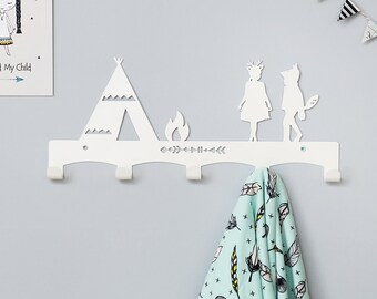 Wilderness nursery Coat Rack / Nursery Wall hanger / Kid's Coat Rack / Kids Room hooks / Tribal Wall Decor
