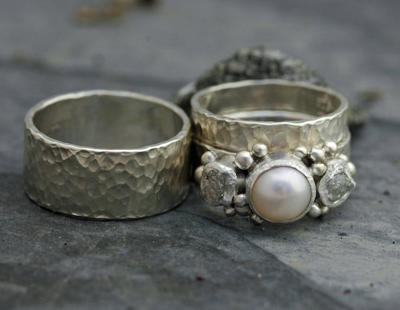 Custom Order: Three Rings- Rough Raw Uncut Diamond and Pearl Engagement Ring  and His and Hers Wedding Band Set