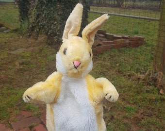 "Adorable and Vintage R. Dakin & Co. Easter Bunny Rabbit Named ""Ruffles"" Plush Hand Puppet"