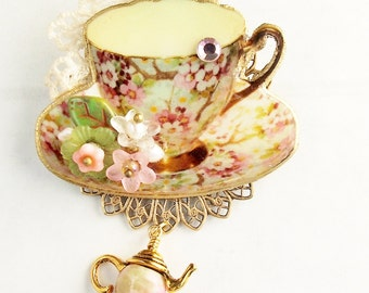 Teacup Brooch, Chintz, Pink, Pink Chintz, Floral Pattern, Tea Party Jewelry