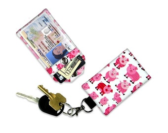 Adorable Pink Patterned Pigs Mini Wallet Card Holder Keychain Clear ID Holder Small Wallet Student ID Badge Credit Card Kid Pig Wallet Child