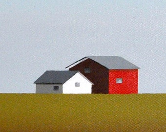 Original Painting - 24 x24 Inches - Barn Farm - Contemporary Painting