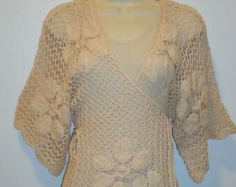 50% OFF Beautiful Vintage Crochet Wrap Sweater, Sz. S