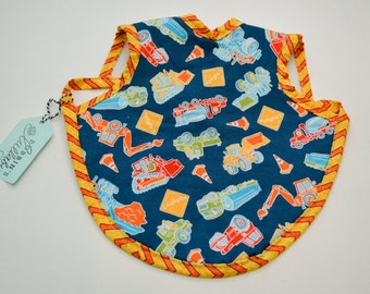 Adorable Baby Apron, Bapron, Fleece lined bib, Modern Baby, Baby Bib, Baby Shower gift, Construction, Blue, Trucks Baby Boy  Ready to Ship!