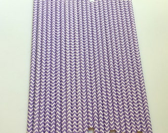 LIGHT PURPLE CHEVRON Paper Straws / Party Straws / Party Decor / Chevron Straws / Paper Party Straws / Purple Straws / Drinking Straws