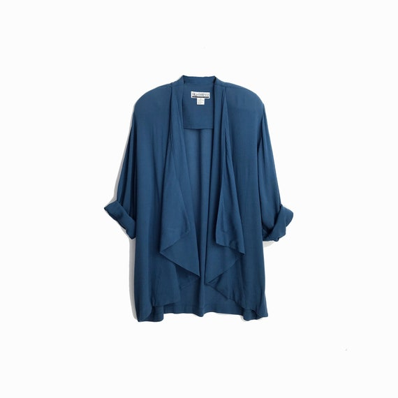 Vintage 90s Lightweight Draped Jacket in Blue Crinkle / Spring Jacket / Open Front Jacket - women's medium/large