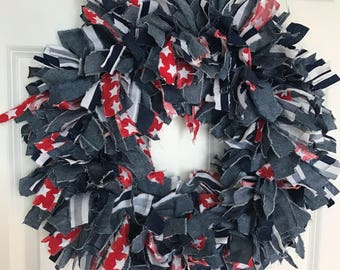 Patriotic Rag Wreath - Red Stars - Blue Denim and Stripes One of a kind Americana Large